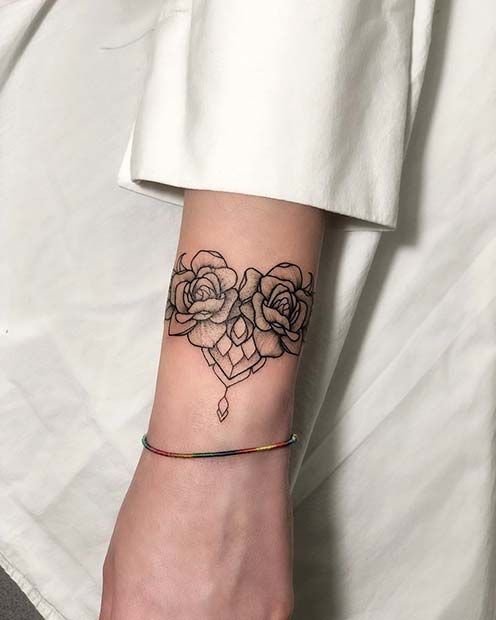 Floral Bracelet Tattoo Idea