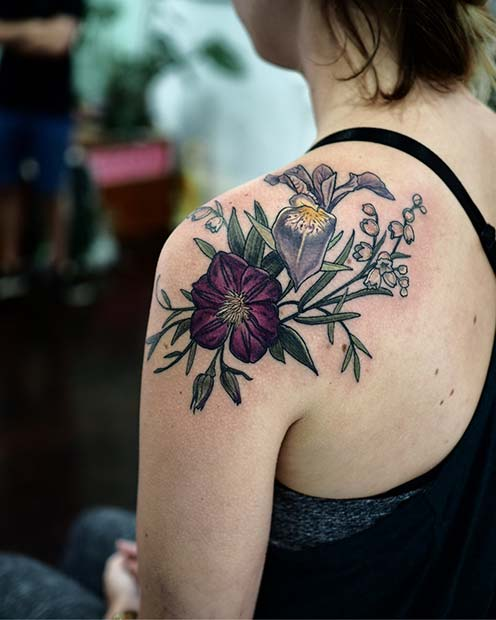 Bold, Floral Shoulder Tattoo Idea