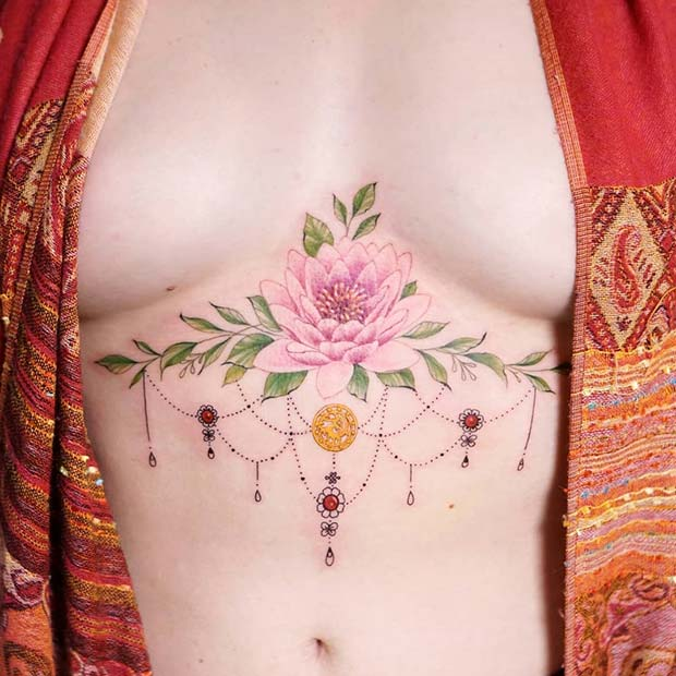 Colorful Flower Sternum Tattoo