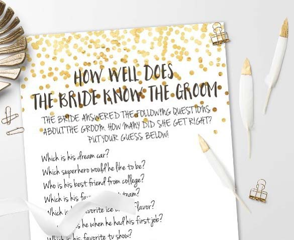 How Well Does the Bride Know the Groom Game