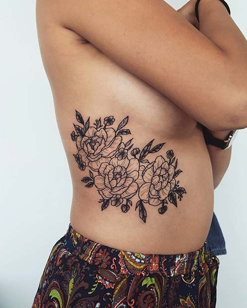 Large Floral Rib Tattoo