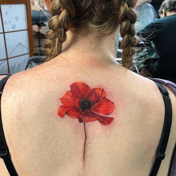 Bold, Red Poppy Back Tattoo Idea
