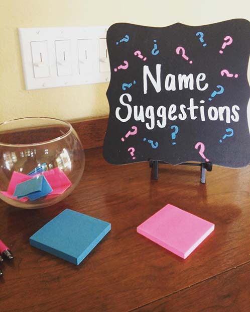 Name Suggestions Gender Reveal Party Idea