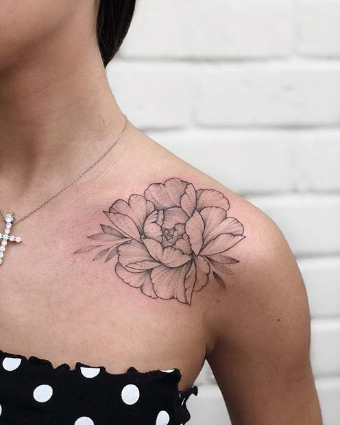 Peony Shoulder Tattoo Idea