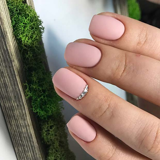 Matte Pink Nails with Crystal Accent Nail