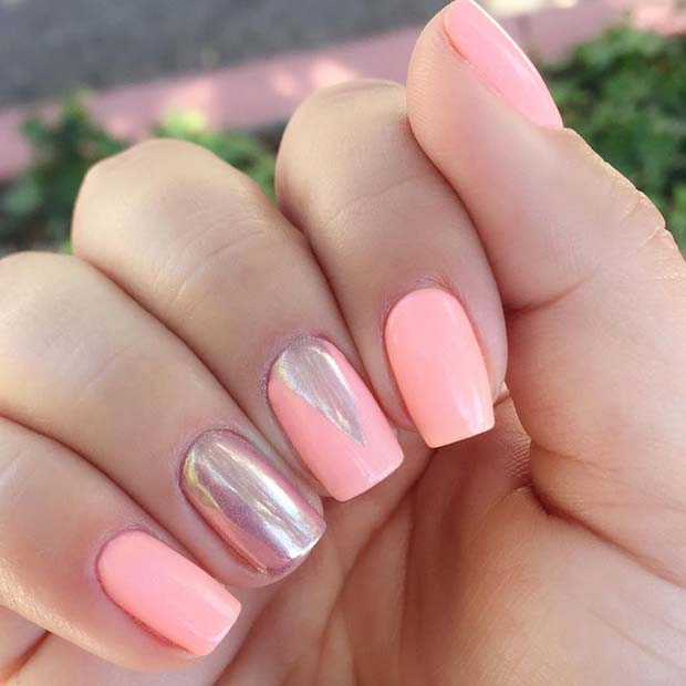 Pink and Chrome Summer Nails