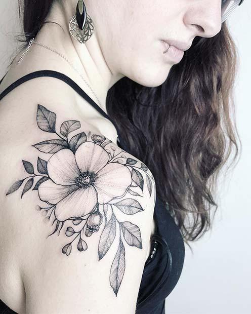 Poppy Shoulder Tattoo Idea