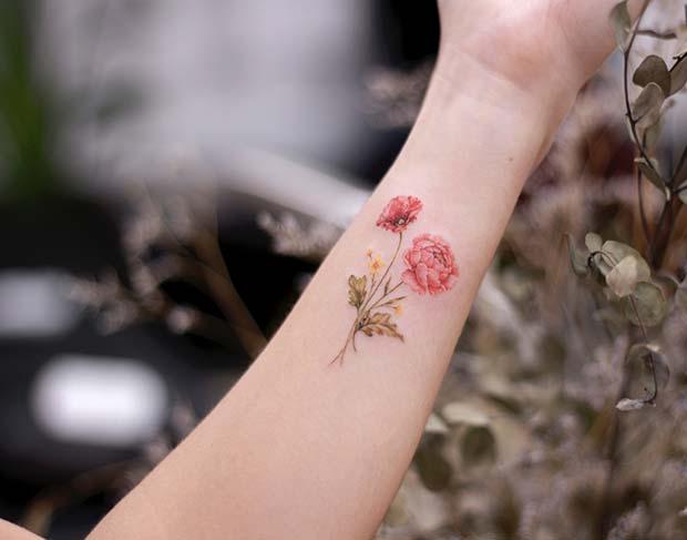 Poppy and Peony Flower Tattoo Idea
