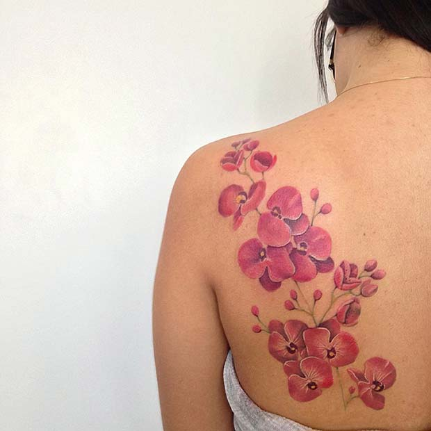Pretty Orchid Back Tattoo Idea