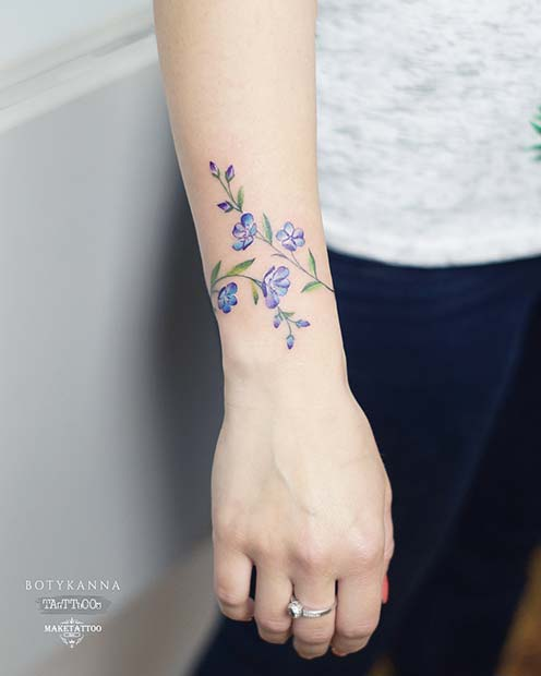 Pretty Wrist Flower Tattoo