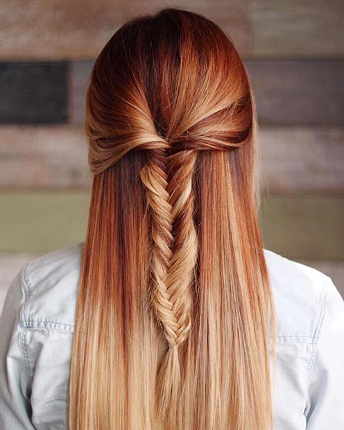 Red to Blonde Ombre Hair Color Idea