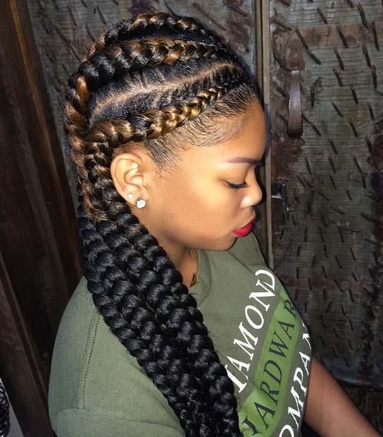 Reverse Ombre African Braids