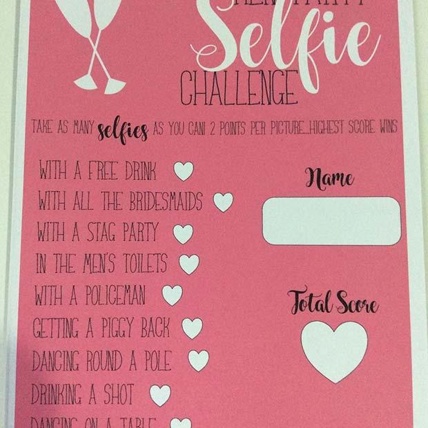 Selfie Challenge Bachelorette Game Idea