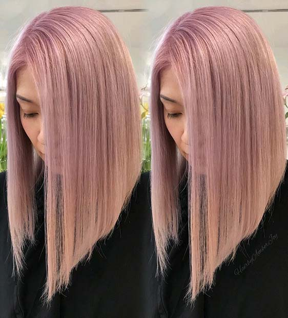Trendy Blush Pink Lob Hairstyle