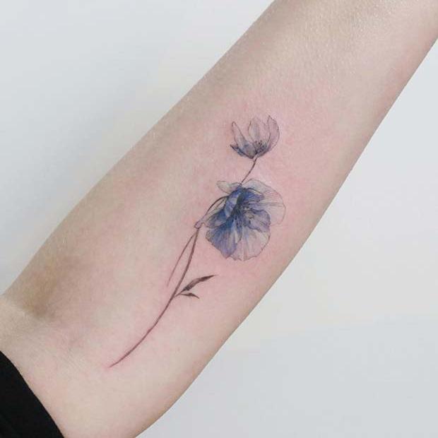 Unique Blue Poppy Flower Tattoo
