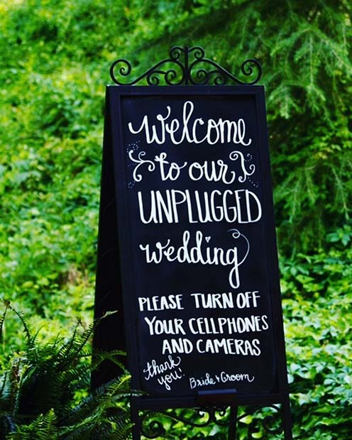 Unplugged Wedding Sign Idea