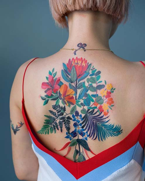 Vibrant Floral Back Tattoo Idea