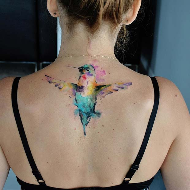 Watercolor Hummingbird Bird Back Tattoo