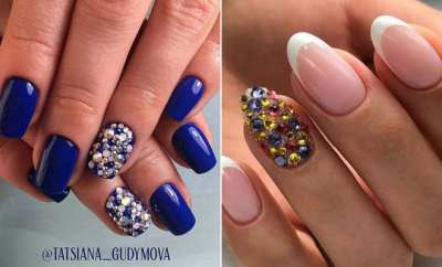 Elegant Nail Designs with Rhinestones