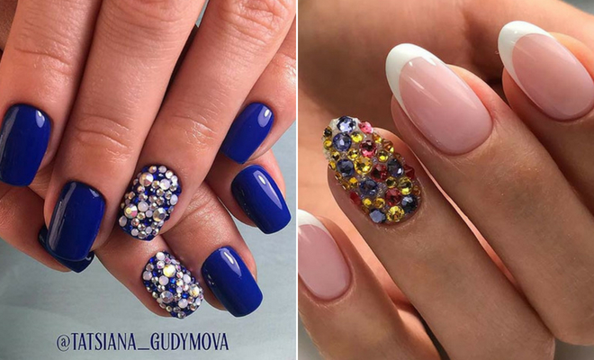21 Elegant Nail Designs With Rhinestones Page 2 Of 2 Stayglam