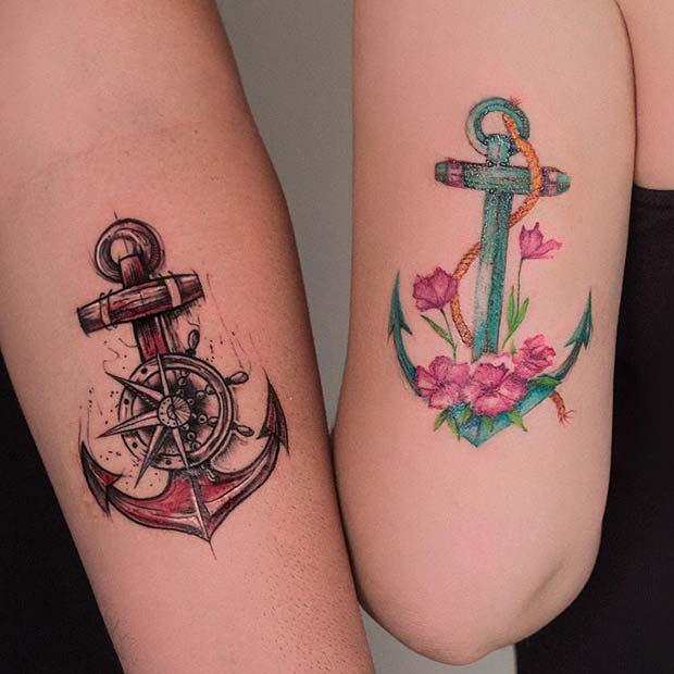 Sibling Anchor Tattoo Ideas