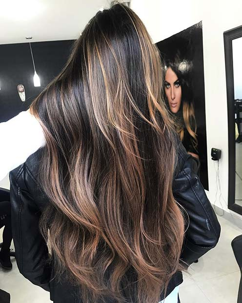 Beautiful Highlights for Long, Dark Brown Hair