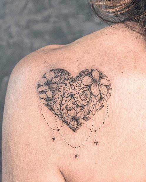 Beautiful Heart Shoulder Tattoo