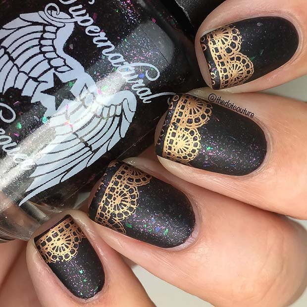 Pretty Black and Gold Lace Nails