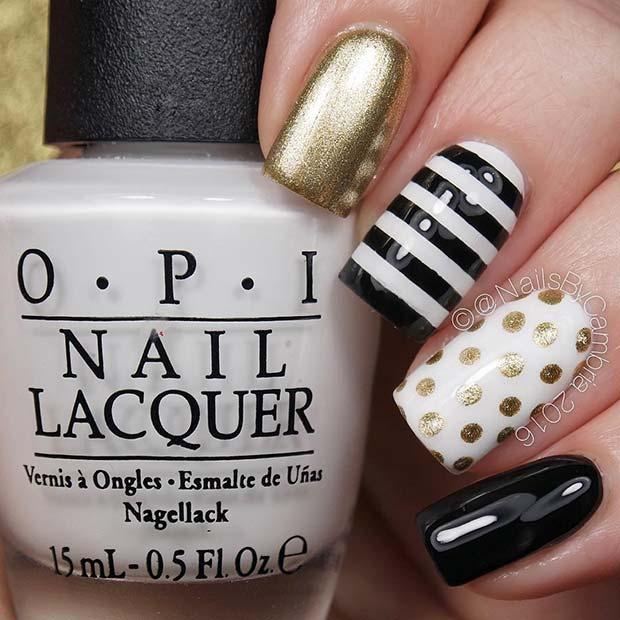 Black and Gold Nails with Stripes and Polka Dots