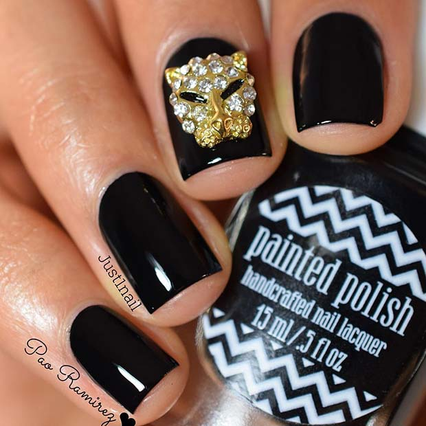 Black Nails with Gold Bling