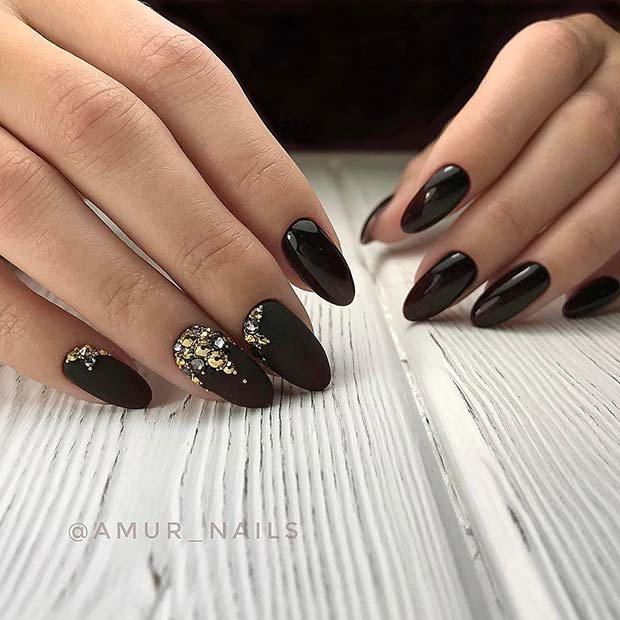 Black Nails with Gold and Silver Gems