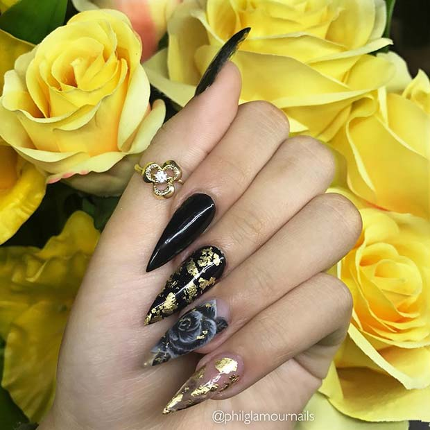 Black and Gold Nails with a Flower