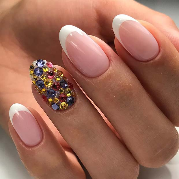French Nail Design with Rhinestones
