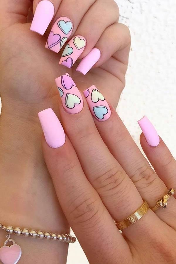 Cute Pink Heart Nails