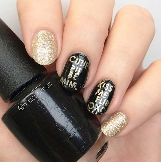 21 Beautiful Black And Gold Nail Designs Page 2 Of 2 Stayglam