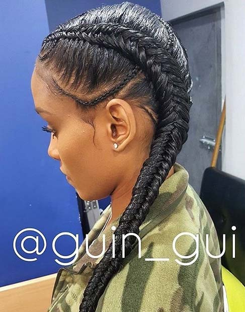 2 Cornrows with Small Braids