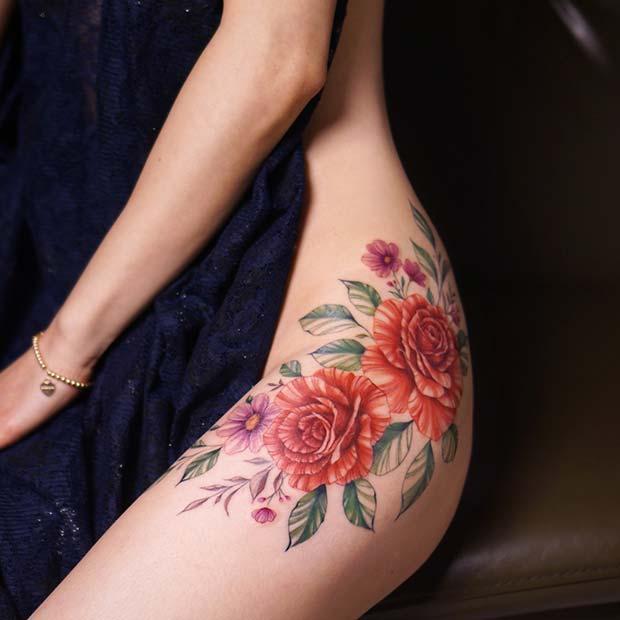 Elegant Floral Hip Tattoo Idea