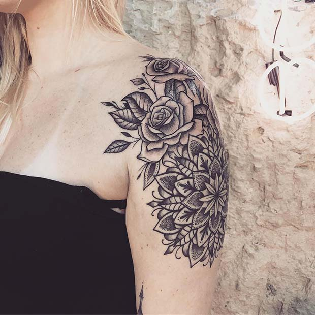 Floral Shoulder and Arm Tattoo for Women