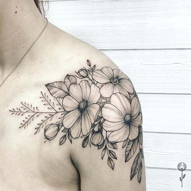 Flower Shoulder Tattoo Design