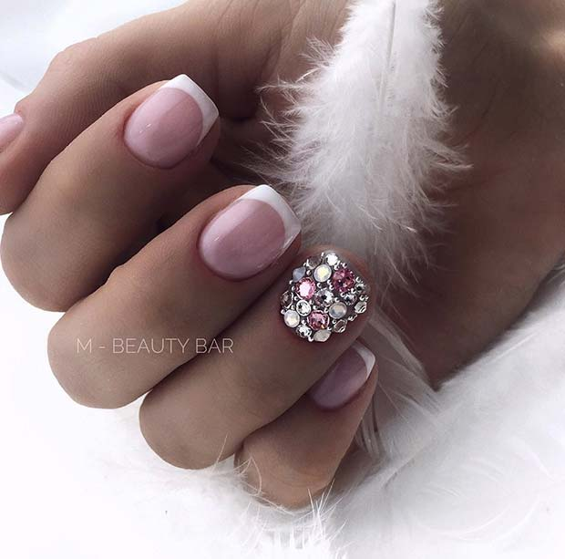 French Nails With Rhinestones