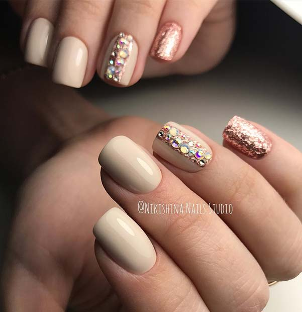 Elegant Nail Design with Glitter and Rhinestones - 21 Elegant Nail Designs With Rhinestones StayGlam