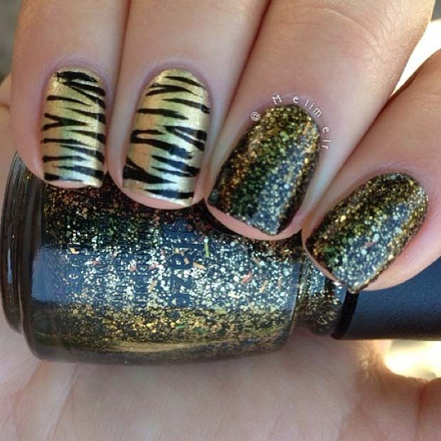 Black and Gold Glitter and Stripes Nails