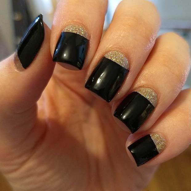 Half Moon Black and Gold Nails
