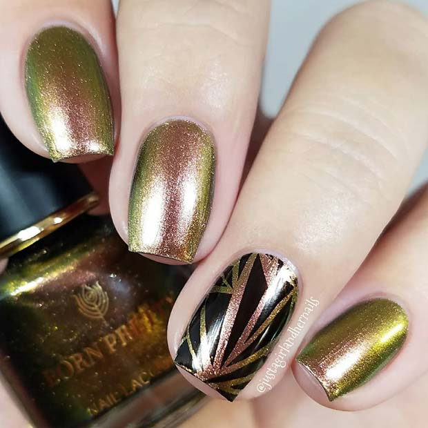 Metallic Gold Nails with a Black Accent Nail