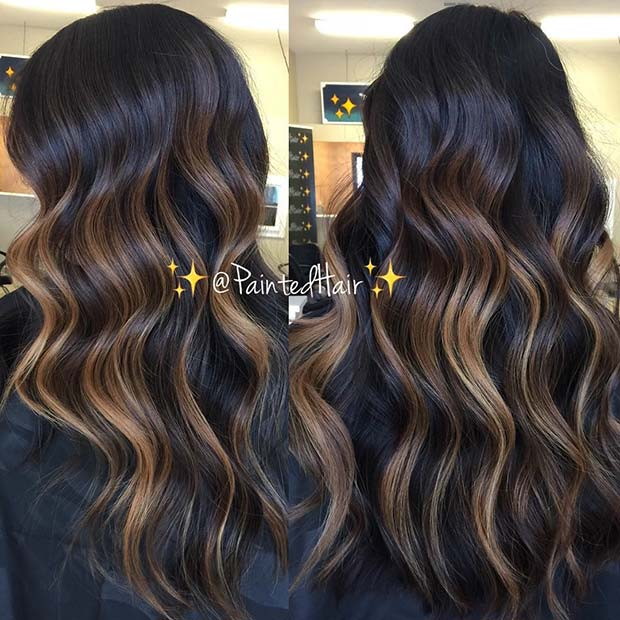 Golden Blonde Highlights for Dark Brown Hair