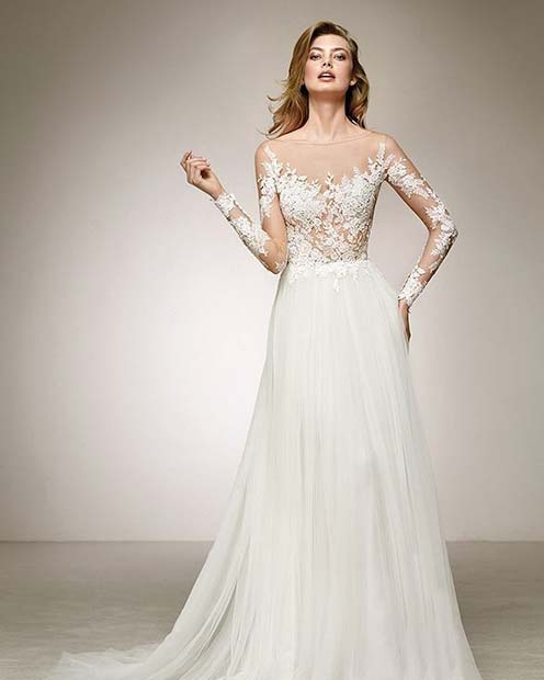 Wedding Gown with Sheer Lace Bodice and Sleeves