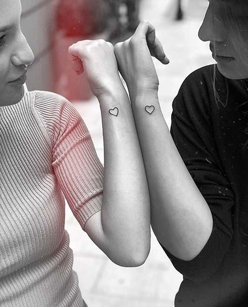 Simple Heart Sibling Tattoos
