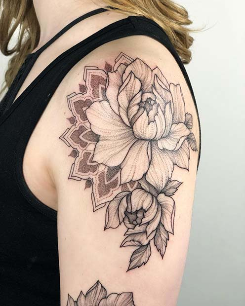 Large Peony Shoulder Tattoo