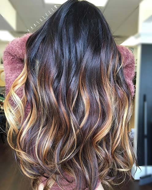 Caramel and Golden Blonde Highlights for Dark Brown Hair