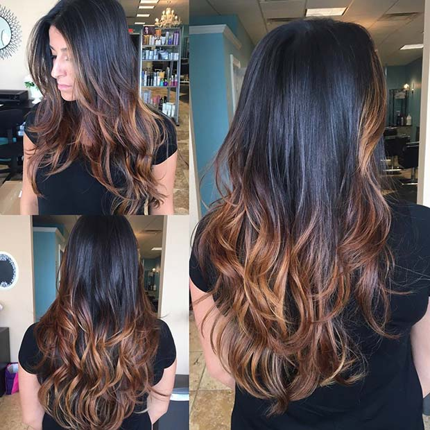 Golden Balayage Highlights For Dark Brown Hair